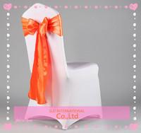 Free Shipping 100 Orange Satin Chair CoverSash For Wedding Decoration