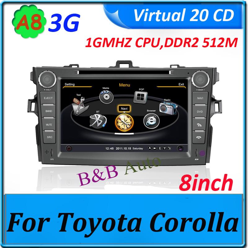 Car DVD GPS 1GMHZ CPU/ DDR2 512M /4G Flash Memory/ Virtual 20CDC for Toyota Corolla audio unit player(China (Mainland))