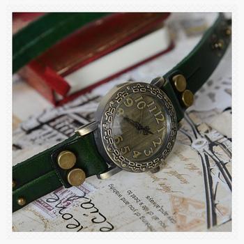 amazing cheap Fashion cowhide wrap bracelet table vintage rivet watch dark green