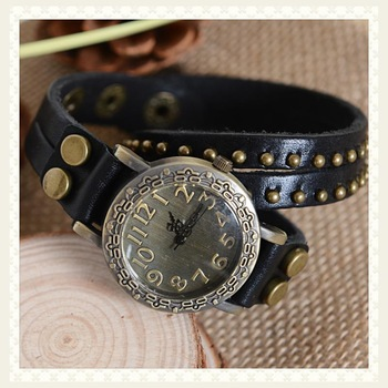 cheap Fashion cowhide wrap bracelet table vintage rivet watch black