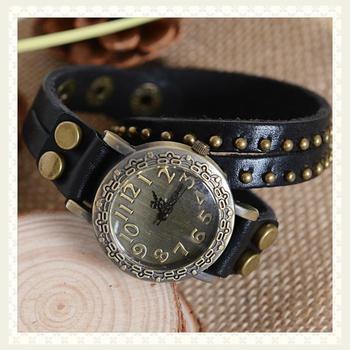 cheap Fashion cowhide wrap bracelet table vintage rivet watch black