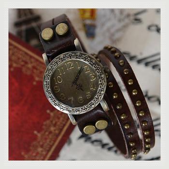 Cheap amazing Fashion cowhide wrap bracelet table vintage rivet watch circled