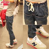 Spring elastic waist female trousers personalized jeans female plus size harem pants fashion