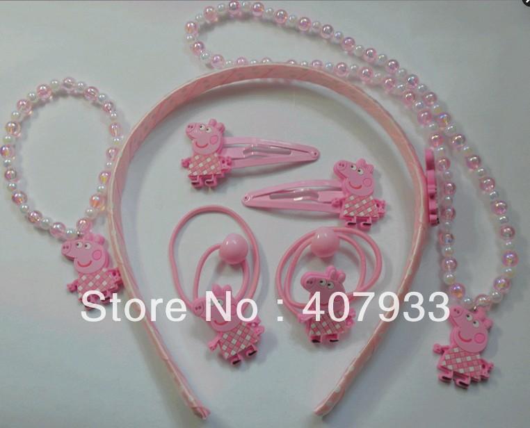 10set/Lot Cute Children Headwear Peppa Pig Necklace+Bracelet + Hair Clip+ Hairties Sets #1 Wholesale