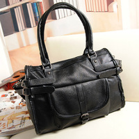 2012 winter fashion black motorcycle bag shoulder bag messenger bag big bag all-match fashion women's handbag