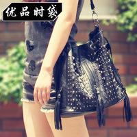 2013 female bags skull rivet fashion vintage tassel bucket bag one shoulder cross-body