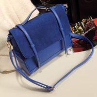 Vintage 2013 women's nubuck leather handbag fashion bag one shoulder cross-body bag navy blue