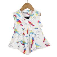 2013 100% cotton new style girl shirt New Designer Girl Sleeveless Shirt woodpecker printing free shipping