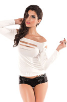 Free shipping white hole torn underwear lady sexy long-sleeved T-shirt 25057-1
