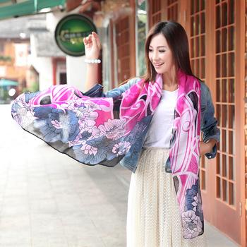 2013 fluid rustic silk scarf moir peony ultra long female scarf large cape beach towel