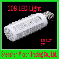 10pcs/lot Wholesale 6000-6500k E27 110V 7W LED Light with 108 LED Bulb Corn light LED Lamp Drop shipping Free shipping