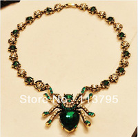Free shipping*fashion and new Blue&Emerald Spider/flower choker necklace with burnish gold*fashion jewelry
