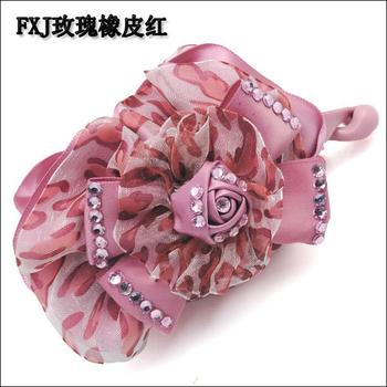 Headband hair accessory hair accessory handmade fabric banana clip double flowers diamond twist clip vertical clip