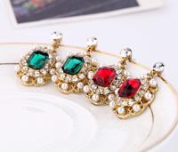 Fashion fashion accessories simulated-pearl inlaying gem elegant stud earring
