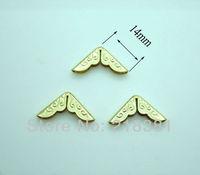 500PCs Gold Plated  Small  Metal  Scrapbooking Albums Menus Folders Corner Protectors 14x14mmx2.8mm A00455