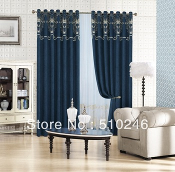 2013 new arrival customized chenille embroidery ready made livingroom door window drape rod grommet curtain drapery