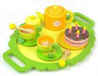 Dejco child toy wooden mini tea set birthday cake combination
