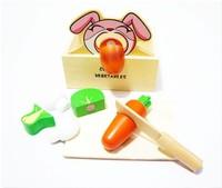 Rabbit wooden box qieqie look set fruit educational toys