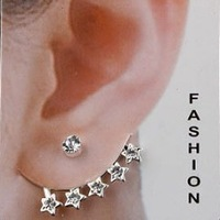 free shipping  Ear Cuff Stud earrings Wedding Silver Jewelry Pentagram Rhinestone Best Gift  E-106