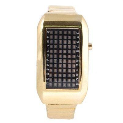 72-LED Green Light Matrix Stainless Steel Watch/Wristwatch (Golden)(China (Mainland))