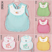 Big baby bibs rice pocket baby bib 100% cotton waterproof bib baby gowns eating bib Large bib