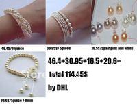 20bracelet+5pair earring stud /lot natural freshwater pearl bracelet and earring stud