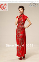 Traditional chinese clothing  wedding dress cheongsam, women's sexy fashion red short-sleeve cheongsam, Free Shipping