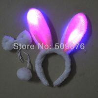 Free shipping 100pcs/lot  pink rabbit ear headband led party headwear novelty decoration for birthday party supplies