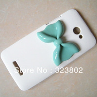 Scratch-Proof Matting White Hard Case Cover Shell Skin With Resin Bow for HTC Verizon Droid DNA x920e Butterfly cabochon