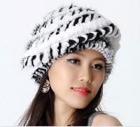2013 Autumn and Winter Women's Natural Handmade Knitted Rex Rabbit and Mink Fur Beret Hats Female Warm Caps VK1145