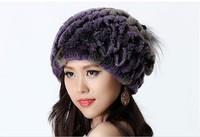 2014 Autumn and Winter Women's Genuine Knitted Rex Rabbit Fur Hats Female Elegent Caps Neckchief Function VK1139