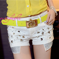 High quality fashion bling diamond patch pocket handmade drill excellent design white denim shorts 9583