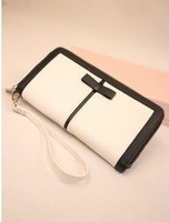 2014 new wave of female bag genuine leather small fragrant wind hit the color black bow Long Wallet