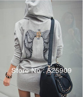 Hot new 2013 ! girl dress back wings women winter dress hoody dress, young and sexy All Season Wear WF-333