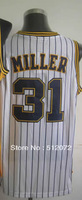 #31 Reggie Miller Men's Authentic Home White Throwback Basketball Jersey