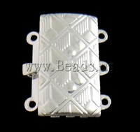 Free shipping!!!Brass Box Clasp,2013 Womens, Rectangle, silver color plated, 3-strand, nickel, lead & cadmium free, 16x19x4mm