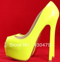 Wholesale 16cm Sexy high heels ladies shoes wedding FISH MOUTH Patent leather platforms women pumps red bottom yellow size34-42