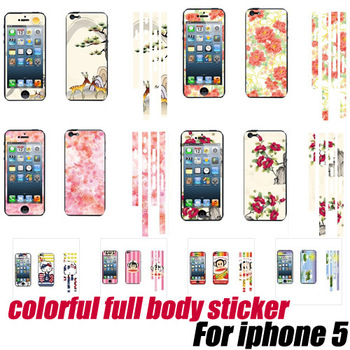 Beautiful flowers design front+back Full Body Skin Sticker Wrap Cover for iphone 5,free shipping