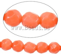 Free shipping!!!Natural Coral Beads,high quality, Round, faceted, reddish orange, 4mm, Hole:Approx 1mm, Length:16 Inch