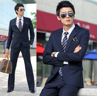 Spring and autumn suit male slim suit blazer set navy blue suit commercial  free shipping