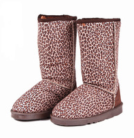 Leopard print knee-high personalized snow boots suede fabric boots thickening thermal flat boots