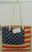shipping Hot-selling  Flag of the United States fresh jute shopping bag vintage one shoulder women's knitted handbag