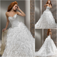 WB092 Elegant sweet heart beaded contoured skirt ruffle 2013 latest bridal wedding gowns