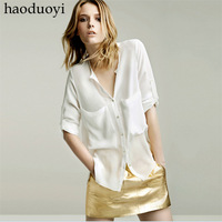 Charming haoduoyi simple double pocket loose chiffon shirt fashion van 3 5 full