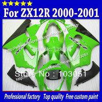 High grade for kawasaki ZX12R fairings 2000 ninja ZX 12R fairing 2001 ZX-12R 00 01 green with glossy black SM20