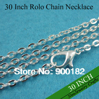 30 Inch Shiny Silver Rolo Chain Necklaces, 76cm Metal Link Chain Necklace, Shiny Silver Cable Chain with Lobster Clasp Connected