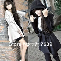 Europe and America 2013 new women's Windbreaker autumn winter handsome big yards loose, casual hooded long coat jacket Size S- L