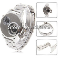 V6 V6009 Dual Movt Stainless Steel Wristband Wrist Watch Numerals & Strips Indicate Time for Unisex Gift Free Shipping