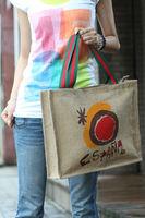shipping Sunshine natural colour jute shopping bag vintage one shoulder women's knitted handbag environment-friendly bags