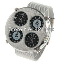 Hot Sales V6 Men's Four Movt Numbers and Strips Hours Marks Round Dial Stainless Steel Band Wrist Watch Gift Free Shipping